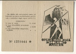 Tessera Opera Nazionale Dopolavoro Anno X (1932). Con Foto - Historical Documents