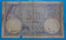 ROMANIA 5 LEI 1914 VG, RARE - Roumanie