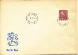 Finland FDC 2-1-1959 Ordinary LION Stamp In New Colour With LION Cachet - FDC