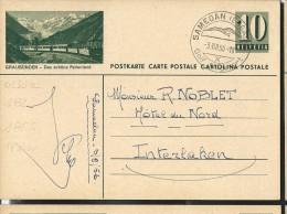 Carte Illustrée(n° Zumstein2009): N° 182-0151a Obl.: GRAUBÜNDEN - Das Schöne Ferlenland (obl: 03/08/1956 Golf) - Interi Postali