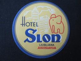 HOTEL CAMPING MOTEL PENSION SPA INN SLON LUBLIANA SLOVENIA JUGOSLAVIA LUGGAGE LABEL ETIQUETTE AUFKLEBER DECAL STICKER - Hotel Labels