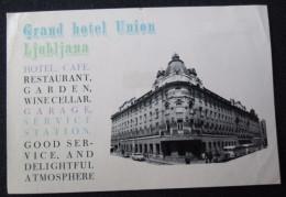 HOTEL CAMPING MOTEL PENSION SPA INN UNION LUBLIANA SLOVENIA JUGOSLAVIA LUGGAGE LABEL ETIQUETTE AUFKLEBER DECAL STICKER - Hotel Labels
