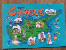 50217 POSTCARD: CYPRUS: Map Of Cyprus. - Cyprus