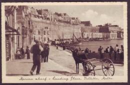 Old Malta Postcard Circa 1930 Marina Wharf Landing Place Valletta - Malta