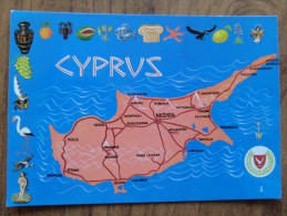 50224 POSTCARD: CYPRUS: Map Of Cyprus. - Chypre