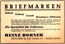 Original-Werbung/ Anzeige 1945 - BRIEFMARKEN HEINZ BOHNER - MÜNCHEN - Ca. 120 X 80 Mm - Publicités