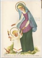 Vierge Et Enfant-Jésus Marchant Dans L'herbe. Fleurs, Oiseau. Signé Yvette Matthieu - Vierge Marie & Madones