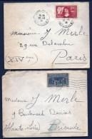 2 LETTRES ANCIENNES FRANCE- TIMBRE N° 342 ET 444 SEULS SUR LETTRE- CAD 1938 - Storia Postale
