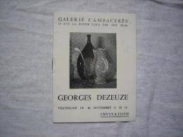 Invitation Vernissage Georges Dezeuze De Montpellier Galerie Cambacéres Paris 1956 - Programs