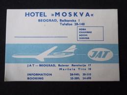 HOTEL CAMPING JAT AIRLINE MOSKVA BELGRADE BEOGRAD SERVIA JUGOSLAVIA LUGGAGE LABEL ETIQUETTE AUFKLEBER DECAL STICKER - Hotel Labels