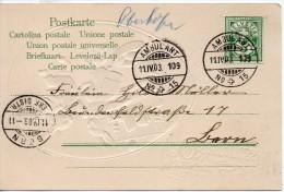 SUISSE AMBULANT N°15 + GRIFFE MANUSCRITE BLEUE SUR CARTE 1903 - Storia Postale