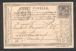 Carte Postale Correspondance De Condé-sur Noirreau (Calvados) - TimbreN° 77 - Tàd 18 14 Juin 1877 - 1849-1876: Période Classique