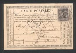 Carte Postale Correspondance De Roubaix - TimbreN° 77 - Tàd 18 7 Juillet 1878 - 1849-1876: Période Classique