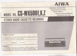 C1901 - LIBRETTO ISTRUZIONI STEREO RADIO CASSETTE RECORDER AIWA Model No. CS-WX500E,K,Z - Apparatus