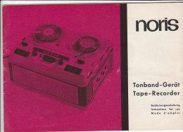 C1908 - LIBRETTO ISTRUZIONI USO + SCHEMA + GARANZIA TAPE RECORDER NORIS Anni '60 - Scienze & Tecnica