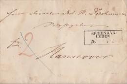 Preussen Brief R3 Eichenbar=leben 26.11. Rückseitig Bpst. Berlin-Halberstadt - Preussen