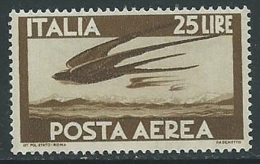 1947-55 ITALIA POSTA AEREA DEMOCRATICA 25 LIRE MNH ** - IE002 - Correo Aéreo