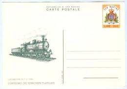 Eisenbahn-Ganzsache San Marino Locomotiva 552 FS Convegno Dei Ferrovieri Filatelisti 1983 Ferrovia Ferroviaire Railway - Ganzsachen
