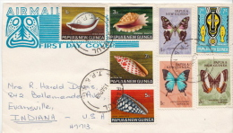 Postal History Cover: Papua New Guinea Cover With Shells, Butterflies Stamps - Timbres