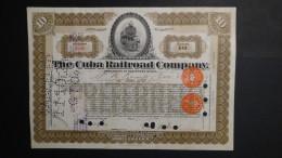 Cuba - The Cuba Railroad Company - Nr:D7628 / 1924 - 10 Shares - Look Scans - Chemin De Fer & Tramway