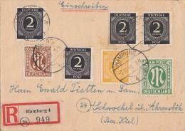 AM-Post R-Brief Mif Minr.22,31,Gemeina. Minr.3x 912,927 Hamburg 7.10.46 - Bizone