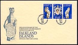 A0493 FALKLAND ISLANDS 1978, SG348-50  25th Anniv Of Coronation, FDC - Falklandinseln
