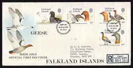 B5231 FALKLAND ISLANDS 1988, SG 559-62  Falkland Island Geese (birds), Postally Used Registered  FDC - Falklandeilanden