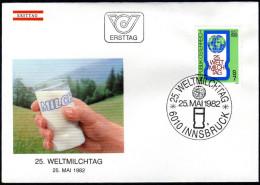 ÖSTERREICH 1982 - Weltmilchtag - Sonderstempel FDC - Ernährung