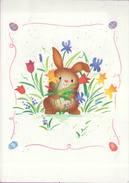 Voeux °° Pâques - Lapin Dans Fleurettes - Cadre Avec Oeufs  - Encart écrit 14x20 - Easter