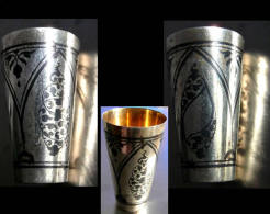 Ancien Verre à Vodka Russe Argent Et Or / Old Russian Silver And Gold Vodka Glass I - Argenteria