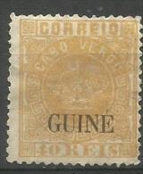Portuguese Guinea - 1885 Portuguese Crown O/p On Cape Verde 40r Unused No Gum  Sc 16 - Portuguese Guinea