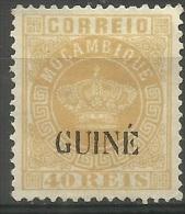 Portuguese Guinea - 1885 Error Portuguese Crown O/p On Mozambique 40r Unused No Gum  Sc 16 - Portuguese Guinea