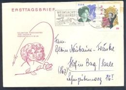 Germany Deutschland DDR 1963 Cover; Space Weltraum Christmas Yuri Gagarin Valentina Tereschowa Besuch In DDR, Roses Rose - FDC & Gedenkmarken
