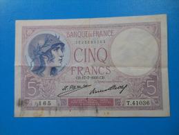 5 Francs Violet 17-7-1930 Fayette 3/14 TB à TTB - 5 F 1917-1940 ''Violet''
