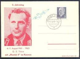 Germany Deutschland DDR 1963 Card; Space Weltraum Espace; 2 Jahre Zweite Flug German Titov; Wostok II - Europe