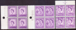 GREAT BRITAIN CHANNEL ISLANDS 1958 SG Guernsey #7, Jersey #10(vert.folded), IOM #2 In Blocks Of 4 W/margins MNH - 1952-.... (Elizabeth II)
