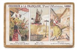 CHROMO CHICOREE A LA FRANCAISE PAUL MAIRESSE JEUNE FILLE FLEUR MOULIN POULE GRAIN - Cromos