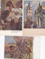 """Lot 3 Cpa  POLOGNE . MILITARIA . Tableaux """"Jency"""" , """"Bracia"""" & """"Ze Szturmu Na Wole - Warszawa 1831"""" Par W. KOSSAK - Malerei & Gemälde"""