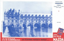 Buvard /Piles MAZDA/Un éclairage Portatif Parfait/ Chateau De Chenonceaux//Vers 1950       BUV257 - Baterías