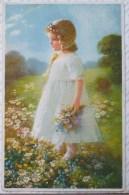 Litho CHROMO ILLUSTRATEUR MEISSNER 2422  Margaretchen Fille Fillette Elegante Robe Blanche Dans Champ De Fleurs - Feiertag, Karl