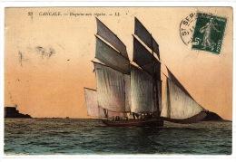 CANCALE (35) - Bisquine Aux Régatyes - LL - 23 - Carte Colorisée - VOILIER - SAILING BOAT - Cancale