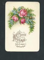 L2046 -  Chromo Gaufré Chocolat POULAIN - Bouquet De Roses Et Fougères - Poulain