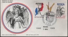 """Lettre Cachet Temporaire 51 Reims 8-9 Mai 85 """"8e Exposition Des Timbres De La Libération ACTL... - Gedenkstempel"""
