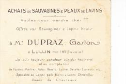 LULLIN -  Achat  De Sauvagines & Peaux De Lapin - DUPRAZ  Gaston - Sonstige Gemeinden