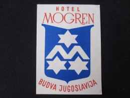 HOTEL CAMPING MOTEL SPA PENSION INN MOGREN BUDVA MONTENEGRO JUGOSLAVIA LUGGAGE LABEL ETIQUETTE AUFKLEBER DECAL STICKER - Adesivi Di Alberghi