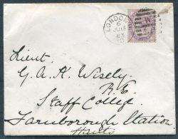 1883 QV London Cover - Staff College Farnborough Station Via Camberley - Briefe U. Dokumente