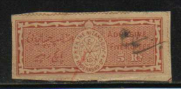 HYDERABAD State  5 Rs  Special Adhesive Type 60  # 88349  Inde Indien  India Fiscaux Fiscal Revenue - Hyderabad