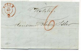 Lettre  Avec  Cachet  Rouge  De BULLE  Pour Wohlen  + Taxe 6   De  1851 - Suisse