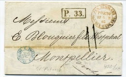 "Russia 1865 Saint Petersburg To Montpellier RED ""Aus Russland Porto"" - 1857-1916 Empire"