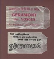 2 Pochettes Cristal Pour Timbres - Année  1950/60 - Offertes Par Le Fromage GERAMONT Des Vosges . LE THOLY. 88 - 2 Scann - Pubblicitari